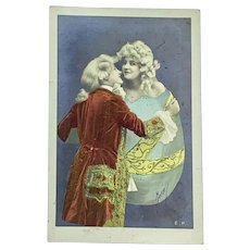 French hand colored Easter postcard - woman in Easter egg