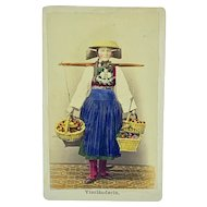 Hand colored cabinet card of flower seller