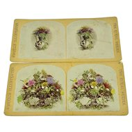 Pair of hand colored stereoview cards - bouquets
