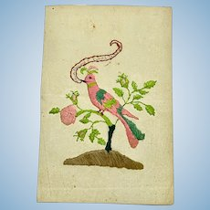 Miniature antique colifichet embroidery of bird