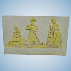 Miniature antique paper cut and ink