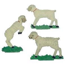 Set of three embossed sheep Dresden figures