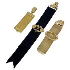 Set of three gold-plated fob clips