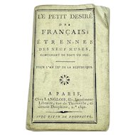 Miniature French almanac for the year 1800