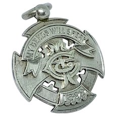 """Antique Victorian silver medal fob with motto """"My Deeds Will Speak"""""""