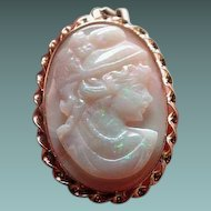 Large solid Australian opal cameo of beautiful women
