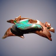 Rare carved Lightning Ridge black opal dolphin necklace with diamond,sapphires,green garnets