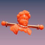 Coral cameo cherub pin