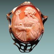 Large cameo of Victorian women with beads and jewel box