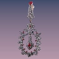 Fabulous pair of ruby and diamond pendant earrings