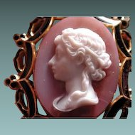 Wonderful one piece pink agate cameo in enamelled frame