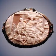 Cameo of tavern scene with dog