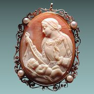 Large cameo of mother and baby