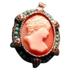 Fine cameo pendant with turquoise and marcasites