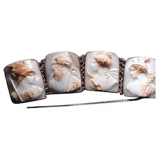 Wonderful Victorian cameo bracelet of Cronus,Athena,Diana and Mercury