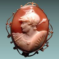 Large fine cameo of Aries the God of war with Medusa