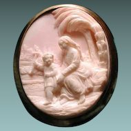 Wonderful pink conch cameo of Mary and Jesus with palm tree