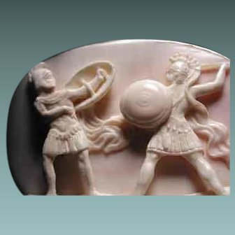 Fabulous high relief cameo of 2 warriors