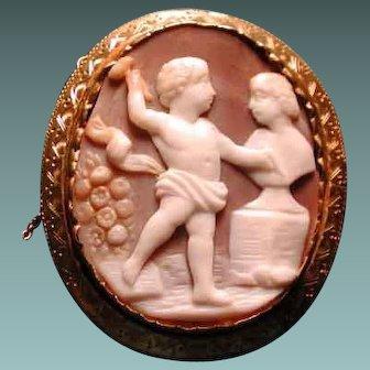 Cameo of a cherub doing sculpture