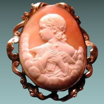 Fabulous cameo of child with dove-Peace-Innocence