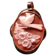 Nice heavy gold bird with flowers cameo pendant