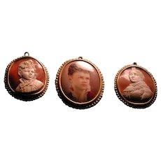 Rare portrait cameo set with hand panted miniature