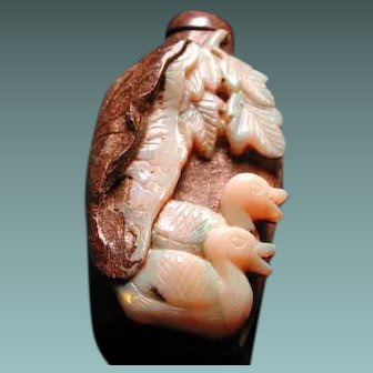Rare natural Australian opal perfume bottle with ducks