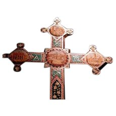 Huge Grand Tour micro mosaic cross from Rome