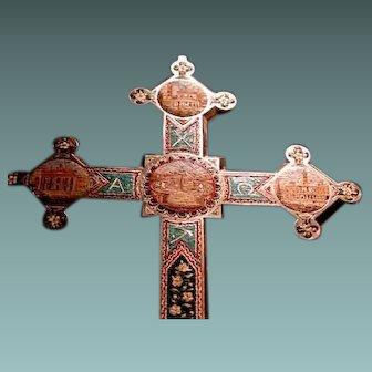 Huge Grand Tour micro mosaic cross from Rome