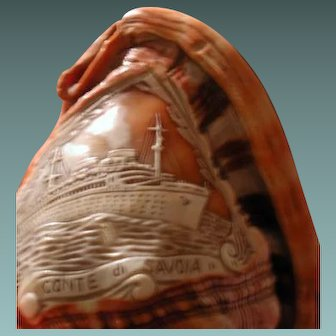 Cameo souvenier shell of the Italian ship the Conte Di Savoria