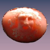 High relief Victorian cameo head of Neptune