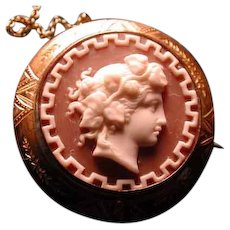 Cameo of Baccante with Greek key border
