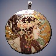 Hand painted Russian Mucha pendant