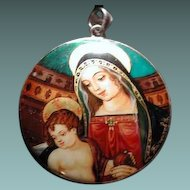 Russian enamel of mary and Jesus
