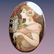 Large hand painted Russian Mucha pendant