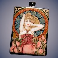 Hand ainted Russian Mucha pendant