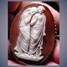 Rare Victorian cameo of 2 women mourning