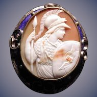 Large cameo of Athena with owl in blue enameled frame