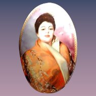 Large hand painted Russian cameo pendant