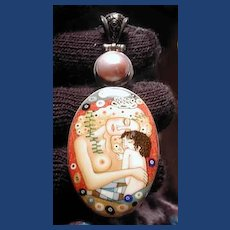 Hand painted Russian cameo   of mother with child