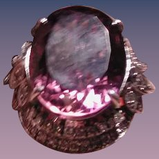 HUGE amethyst and diamond RING