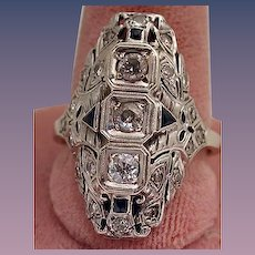 Art Deco filligree and diamond with sapphire ring