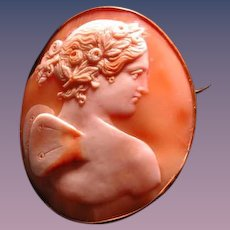 Nice large Victorian head of Psyche cameo