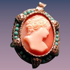 Nice large beautiful women cameo with turquoise surround