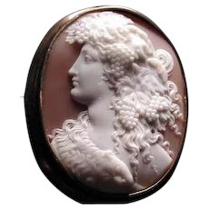 Large museum quality cameo of Baccus or Baccante