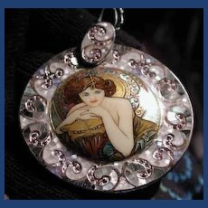Large Hand painted Russian cameo with inlaid stones