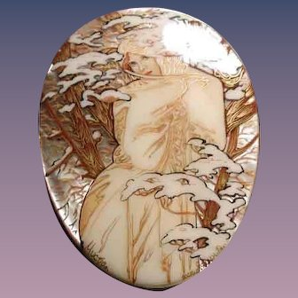 Large Russian cameo of Winter with snow
