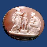 Cameo scene of Athena,child and zeus