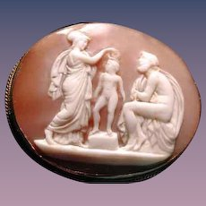 Cameo scene of Athena,child and zeus