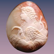 Rare Victorian cameo of Apollo with swan
